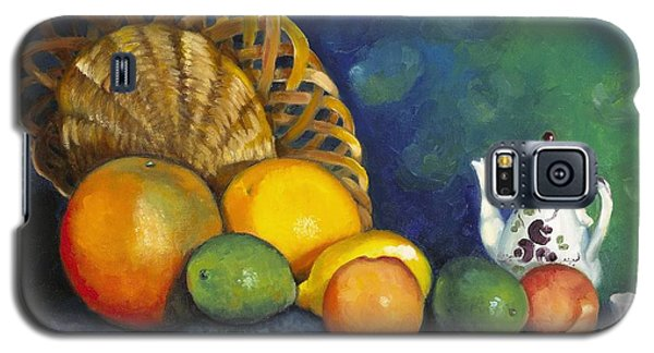 Galaxy S5 Case featuring the painting Fruit On Doily by Marlene Book