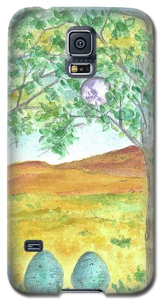 Galaxy S5 Case featuring the drawing Full Moon And Robin Eggs by Cathie Richardson