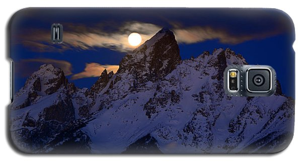 Full Moon Sets Over The Grand Teton Galaxy S5 Case