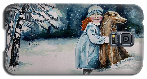 Galaxy S5 Case featuring the painting Fun In The Snow by Geni Gorani