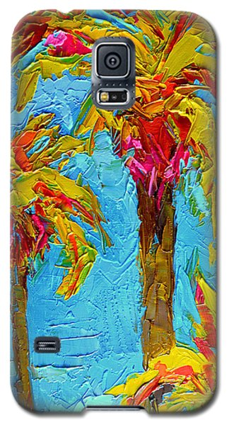 Funky Fun Palm Trees - Modern Impressionist Knife Palette Oil Painting Galaxy S5 Case