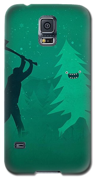 Funny Cartoon Christmas Tree Is Chased By Lumberjack Run Forrest Run Galaxy S5 Case by Philipp Rietz