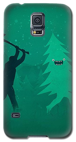 Galaxy S5 Case - Funny Cartoon Christmas Tree Is Chased By Lumberjack Run Forrest Run by Philipp Rietz