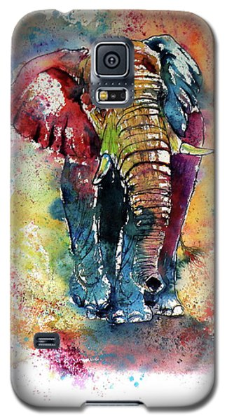 Galaxy S5 Case featuring the painting Funny Elephant by Kovacs Anna Brigitta