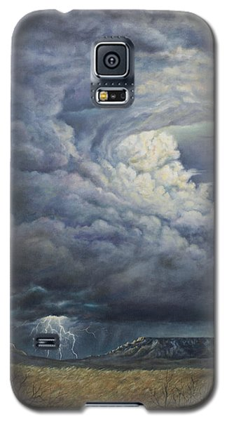 Galaxy S5 Case featuring the painting Fury Over Square Butte by Kim Lockman