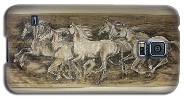 Galaxy S5 Case featuring the drawing Galloping Stallions by Debora Cardaci