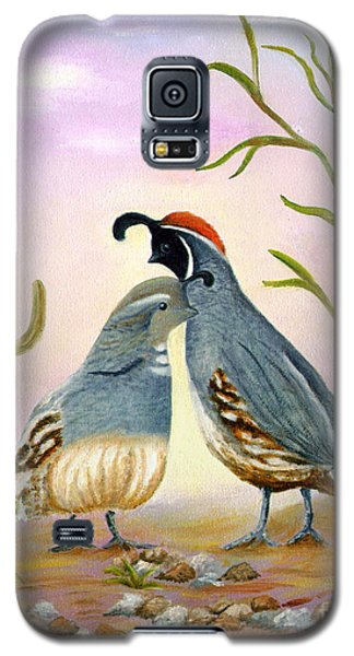 Galaxy S5 Case featuring the painting Gambel Quails Friends Forever by Judy Filarecki
