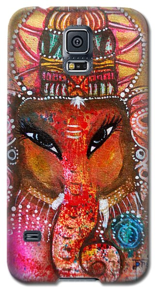 Galaxy S5 Case featuring the mixed media Ganesha by Prerna Poojara