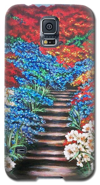 Galaxy S5 Case featuring the painting Garden Cascade by Sigrid Tune