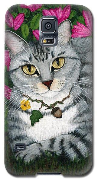 Garden Cat - Silver Tabby Cat Azaleas Galaxy S5 Case