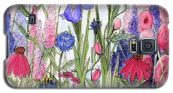 Garden Cottage Iris And Hollyhock Galaxy S5 Case
