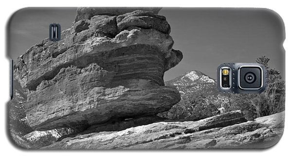 Galaxy S5 Case featuring the photograph Garden Of The Gods Balanced Rock Black And White by Adam Jewell