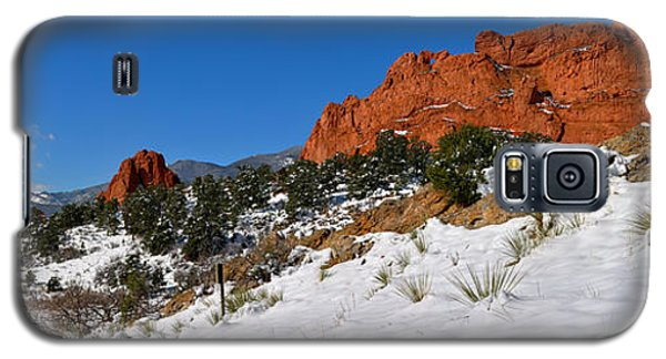 Galaxy S5 Case featuring the photograph Garden Of The Gods Snowy Blue Sky Panorama by Adam Jewell