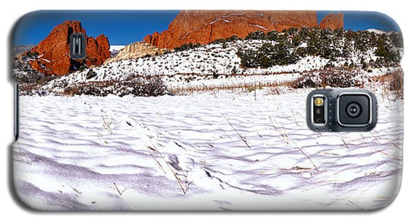 Galaxy S5 Case featuring the photograph Garden Of The Gods Snowy Morning Panorama Crop by Adam Jewell