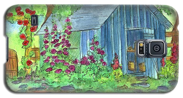 Galaxy S5 Case featuring the painting Garden Potting Shed by Cathie Richardson