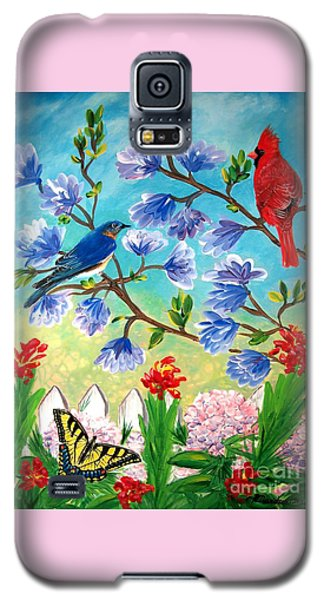 Garden View Birds And Butterfly Galaxy S5 Case by Patricia L Davidson