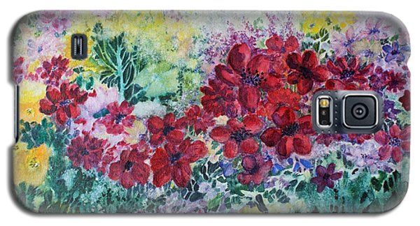 Galaxy S5 Case featuring the painting Garden With Reds by Joanne Smoley