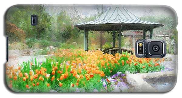 Galaxy S5 Case featuring the digital art Gazebo With Tulips by Francesa Miller