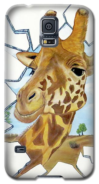 Galaxy S5 Case featuring the painting Gazing Giraffe by Teresa Wing