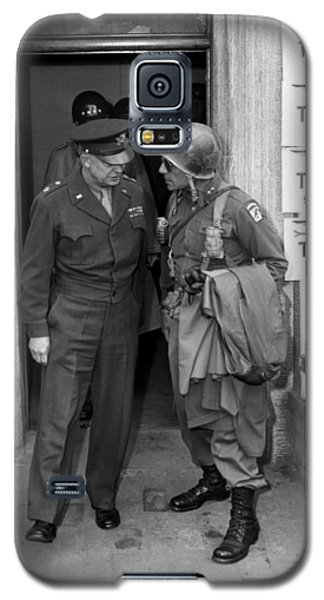 Galaxy S5 Case featuring the photograph General Eisenhower And General Ridgway  by War Is Hell Store