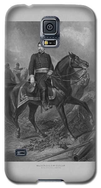 Galaxy S5 Case featuring the mixed media General George Mcclellan On Horseback by War Is Hell Store