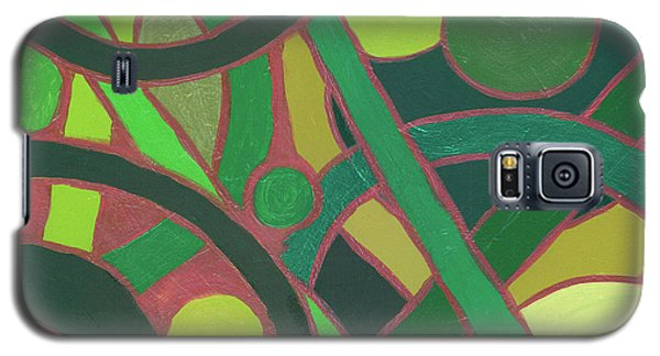 Galaxy S5 Case featuring the painting Geometric Study Green On Copper by Ania M Milo
