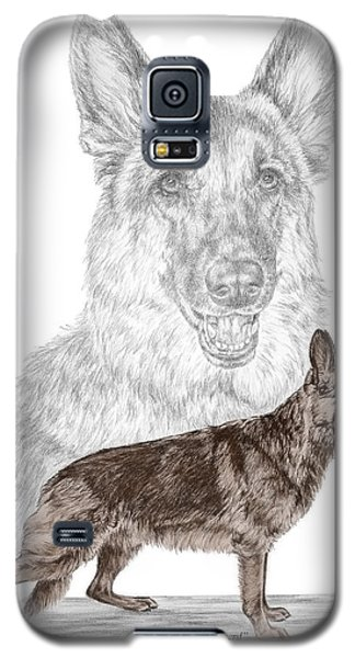 Galaxy S5 Case featuring the drawing German Shepherd Art Print - Color Tinted by Kelli Swan