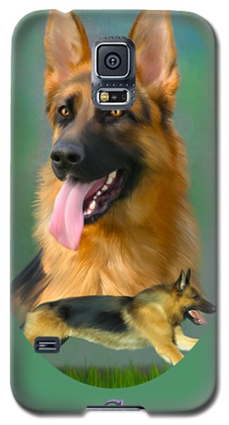 German Shepherd With Name Logo Galaxy S5 Case
