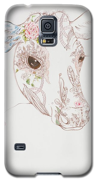 Galaxy S5 Case featuring the drawing Gersey by Karen Robey