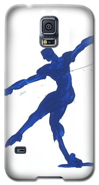 Galaxy S5 Case featuring the painting Gesture Brush Blue 2 by Shungaboy X