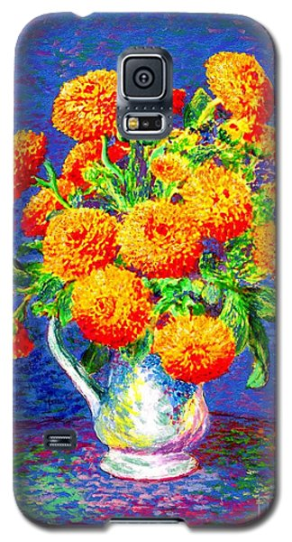 Galaxy S5 Case featuring the painting Gift Of Gold, Orange Flowers by Jane Small