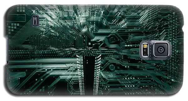 Galaxy S5 Case featuring the photograph Ginat Microchip Hovering Above Circuit-board by Christian Lagereek