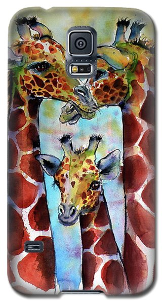 Galaxy S5 Case featuring the painting Giraffe Family by Kovacs Anna Brigitta