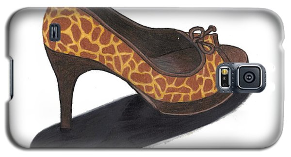 Galaxy S5 Case featuring the drawing Giraffe Heels by Jean Haynes