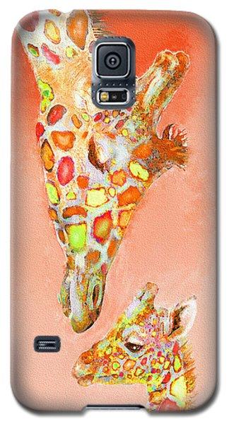 Giraffe Love- Orange Galaxy S5 Case by Jane Schnetlage