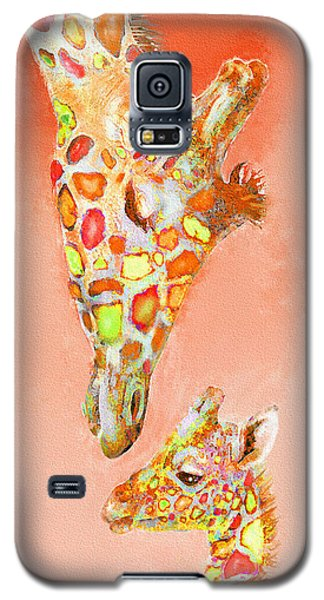 Giraffe Love- Orange Galaxy S5 Case by Jane Schnetlage