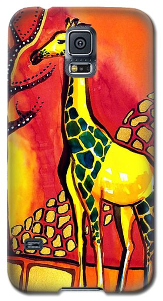 Galaxy S5 Case featuring the painting Giraffe With Fire  by Dora Hathazi Mendes