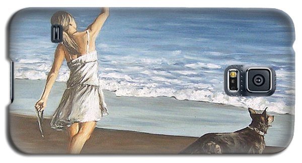 Galaxy S5 Case featuring the painting Girl And Dog by Natalia Tejera