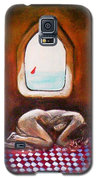 Galaxy S5 Case featuring the painting Girl At The Beach by Winsome Gunning
