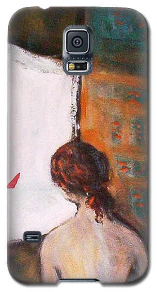 Galaxy S5 Case featuring the painting Girl At The Window by Winsome Gunning