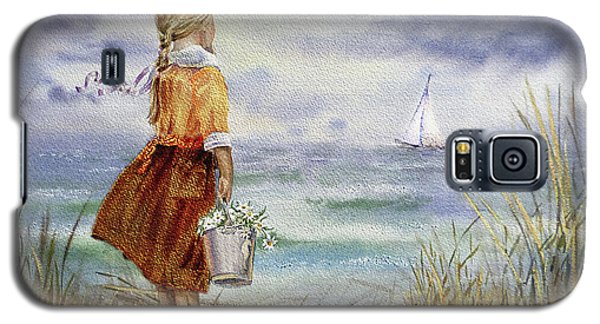 Galaxy S5 Case featuring the painting Girl Ocean Shore Birds And Seashell by Irina Sztukowski