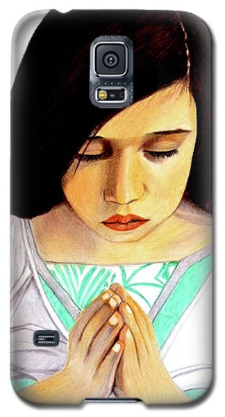 Girl Praying Drawing Portrait By Saribelle Galaxy S5 Case by Saribelle Rodriguez