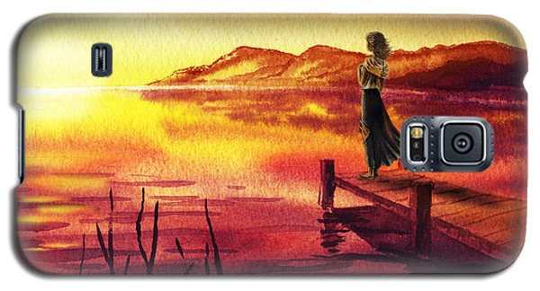 Galaxy S5 Case featuring the painting Girl Watching Sunset At The Lake by Irina Sztukowski