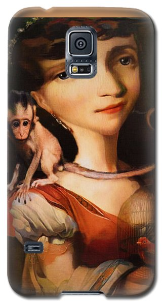 Girl With A Pet Monkey Galaxy S5 Case