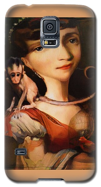 Galaxy S5 Case featuring the photograph Girl With A Pet Monkey by Sharon Jones