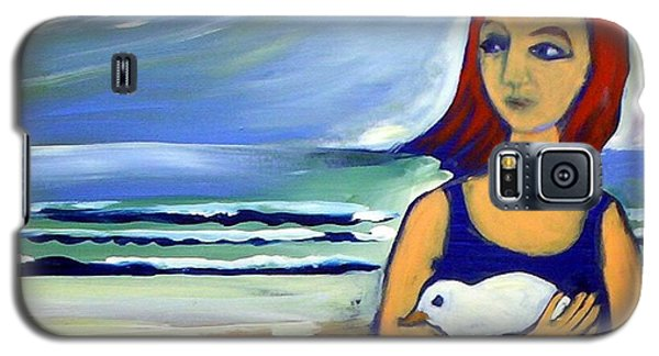 Galaxy S5 Case featuring the painting Girl With Bird by Winsome Gunning