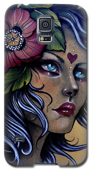 Girl With Poppy Flower Galaxy S5 Case