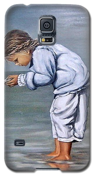 Galaxy S5 Case featuring the painting Girl With Shell by Natalia Tejera