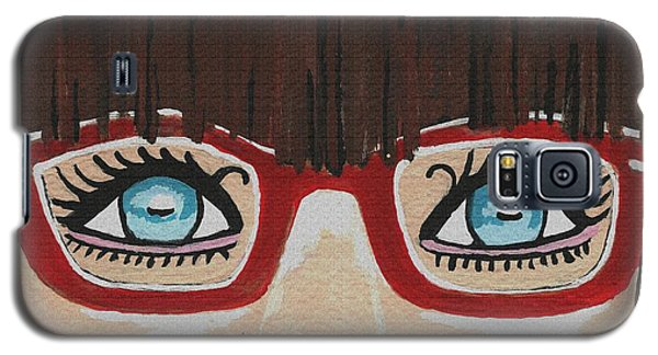 Galaxy S5 Case featuring the painting Girl With The Red Glasses by Kathleen Sartoris