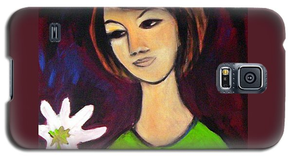 Galaxy S5 Case featuring the painting Girl With White Flower by Winsome Gunning